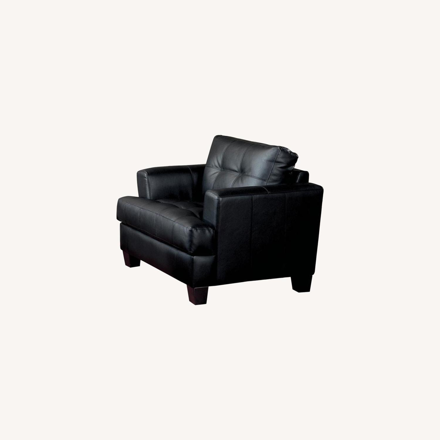 Chair In Black Padded Breathable Leatherette - image-4