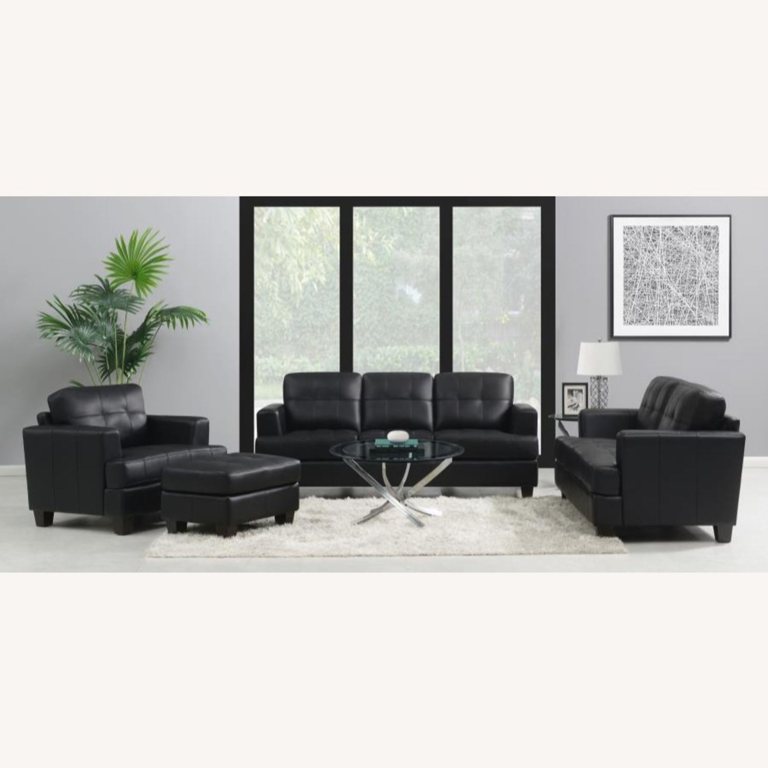 Chair In Black Padded Breathable Leatherette - image-2