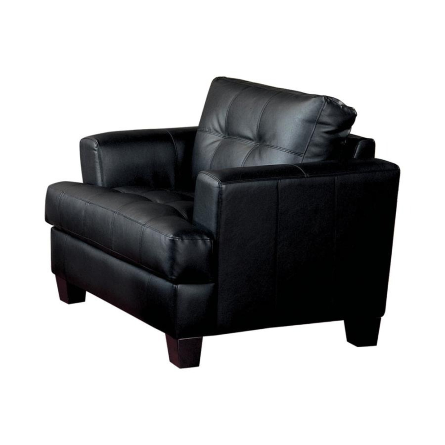 Chair In Black Padded Breathable Leatherette - image-0