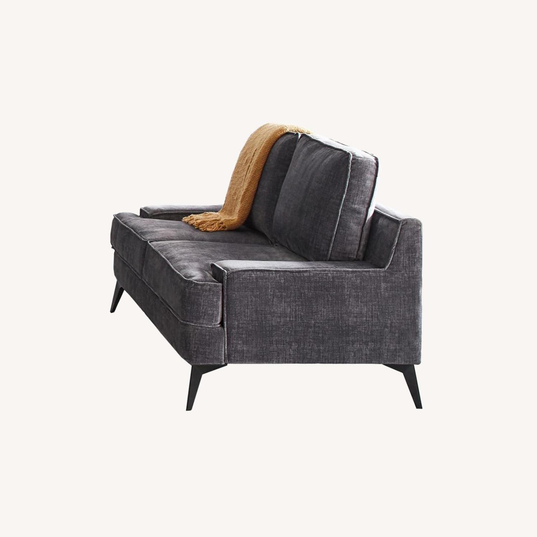 Loveseat In Charcoal Grey Velvet Upholstery - image-4