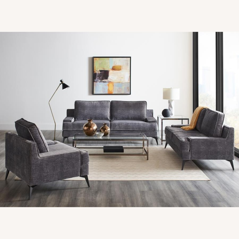 Loveseat In Charcoal Grey Velvet Upholstery - image-2