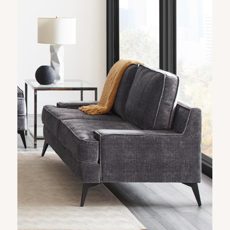 Loveseat In Charcoal Grey Velvet Upholstery - image-1