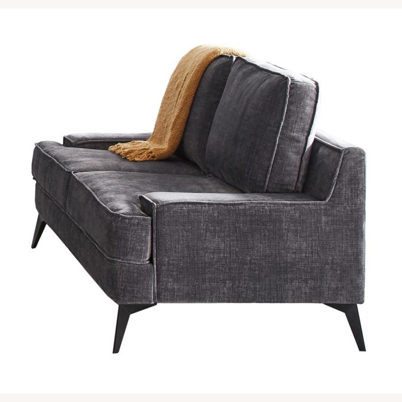 Loveseat In Charcoal Grey Velvet Upholstery - image-0