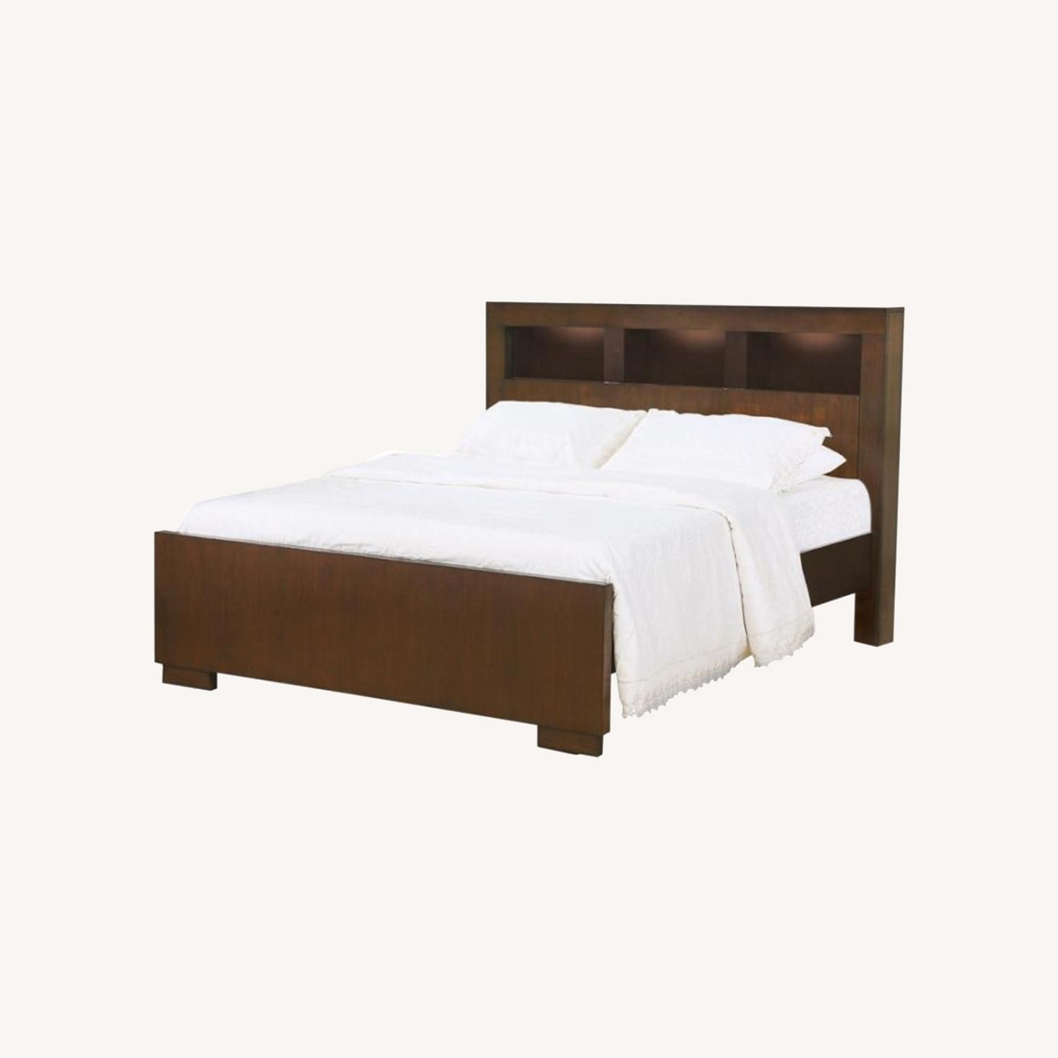 Queen Bed In Cappuccino W/ Bookcase Headboard - image-3