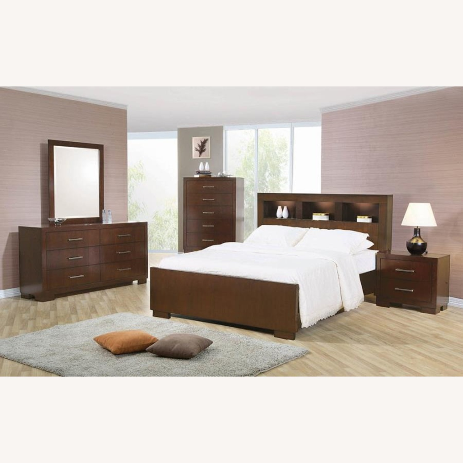 Queen Bed In Cappuccino W/ Bookcase Headboard - image-1