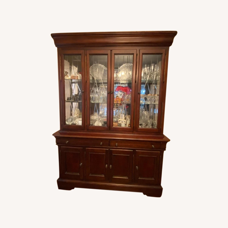 Macy's Elegant Cherry Wood China Cabinet - image-0