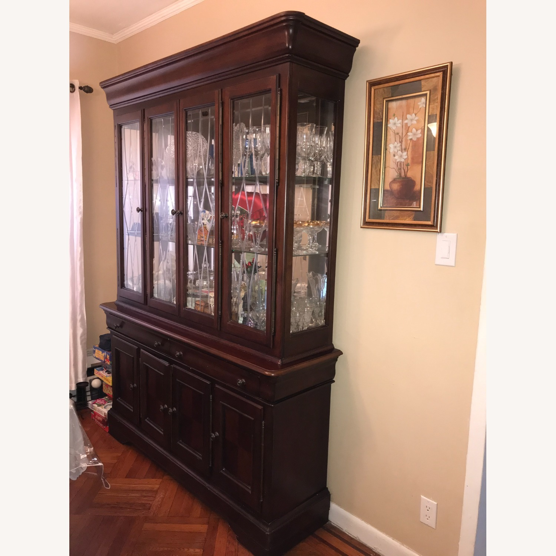 Macy's Elegant Cherry Wood China Cabinet - image-4