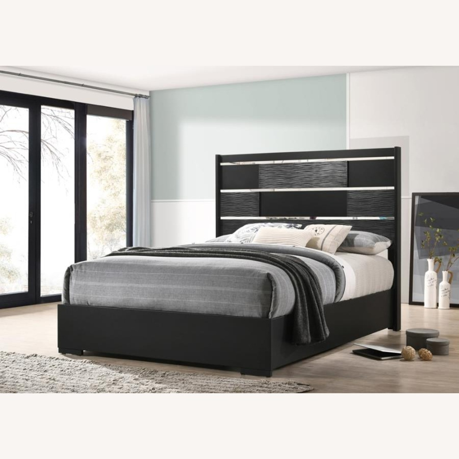 King Bed In Black Wood Finish W/ Chambered Trim - image-1