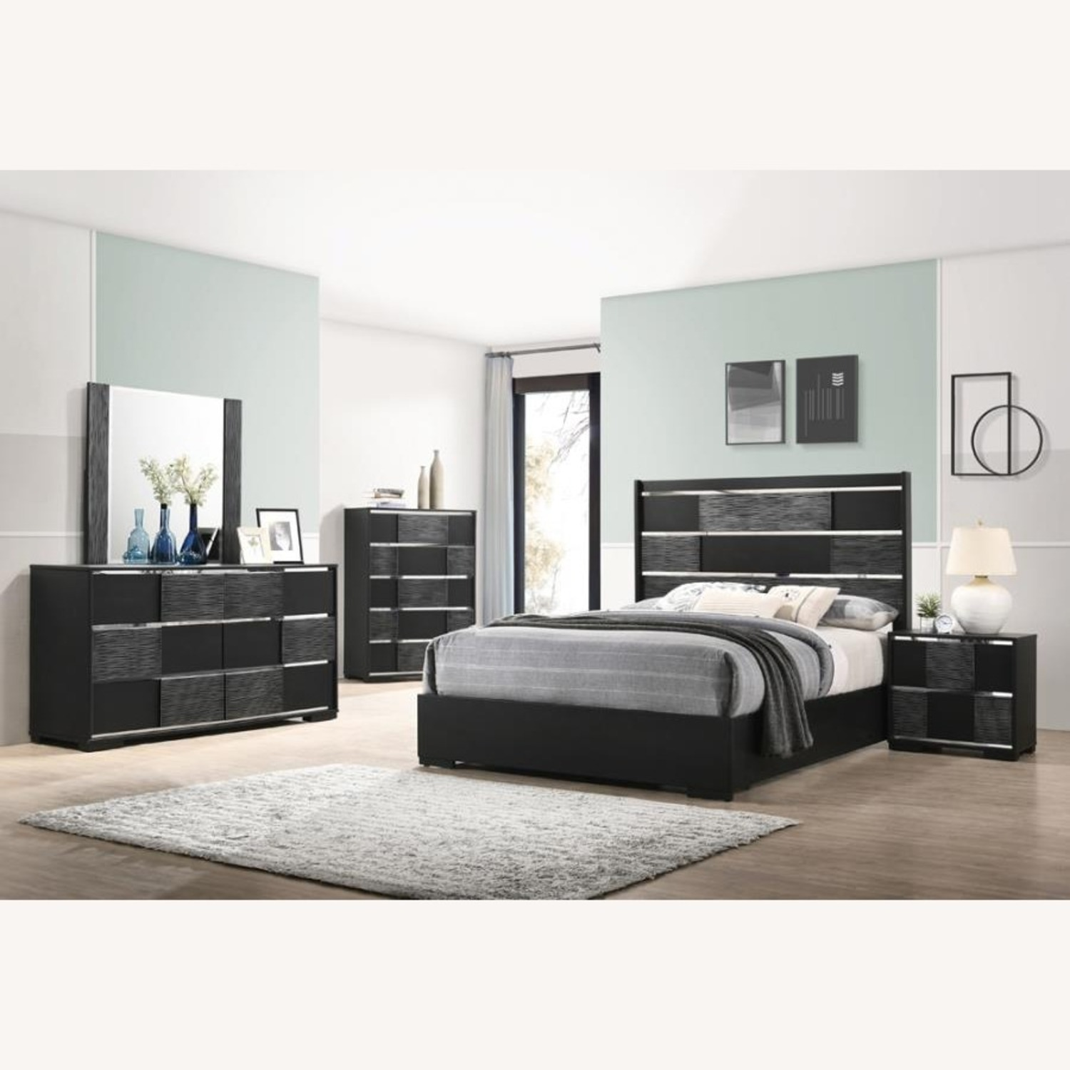 King Bed In Black Wood Finish W/ Chambered Trim - image-2