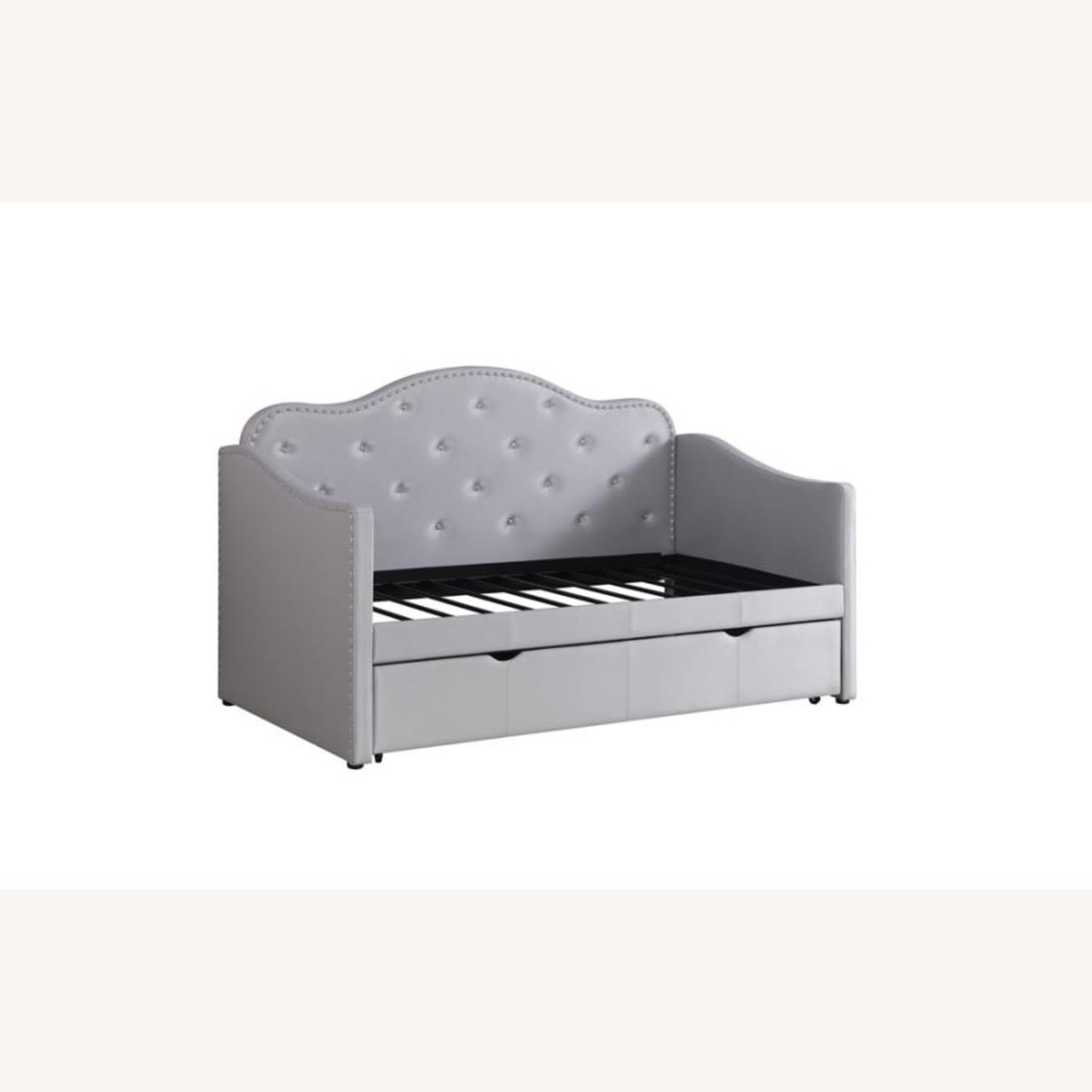 Daybed In Pearlescent Grey Leatherette Finish - image-1