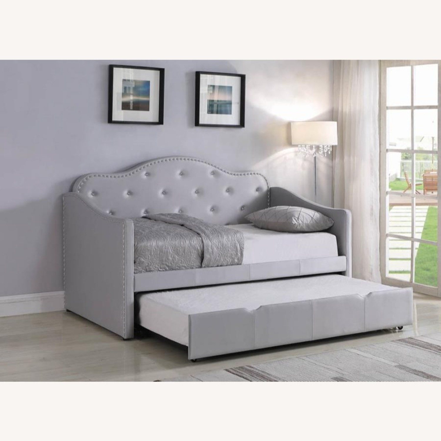 Daybed In Pearlescent Grey Leatherette Finish - image-7