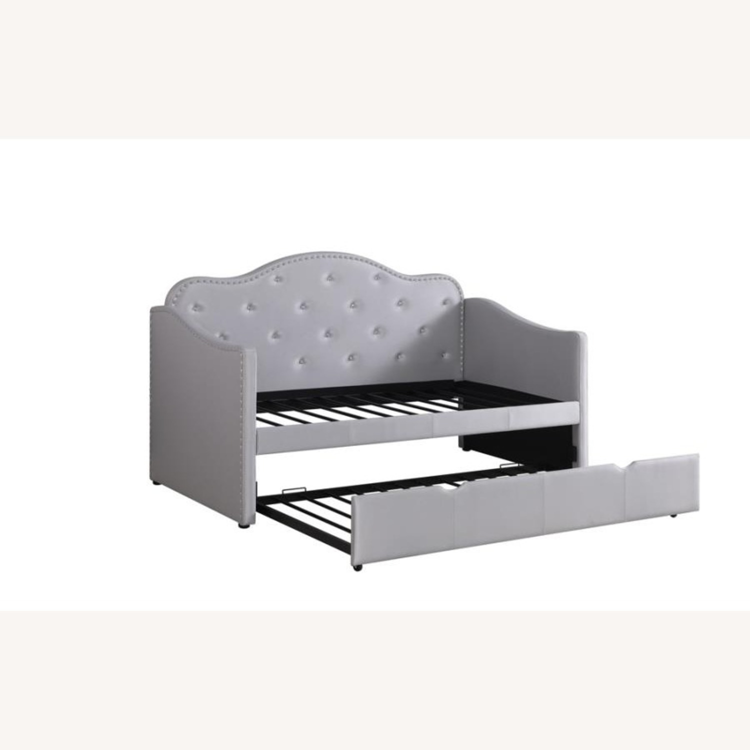 Daybed In Pearlescent Grey Leatherette Finish - image-6