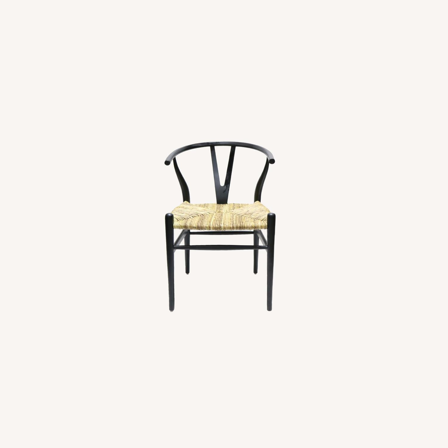 Dining Chair In Black Frame & Natural Hemp Seat - image-0