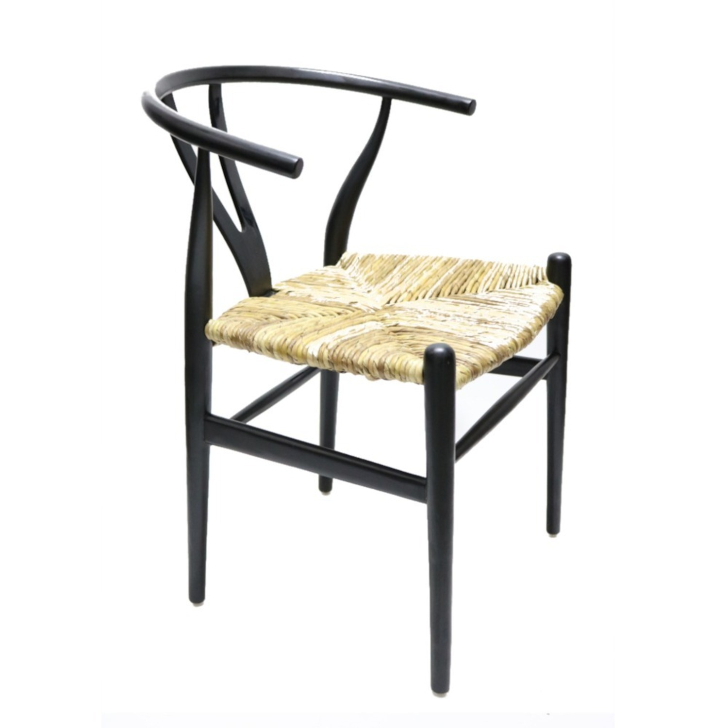 Dining Chair In Black Frame & Natural Hemp Seat - image-3