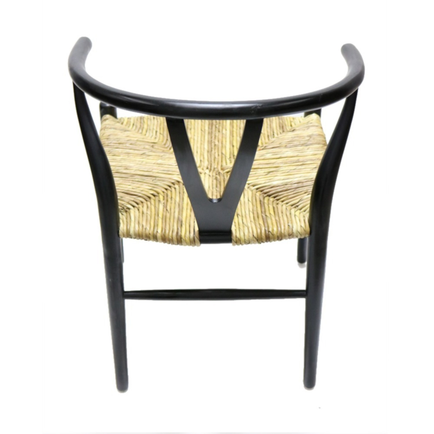 Dining Chair In Black Frame & Natural Hemp Seat - image-7