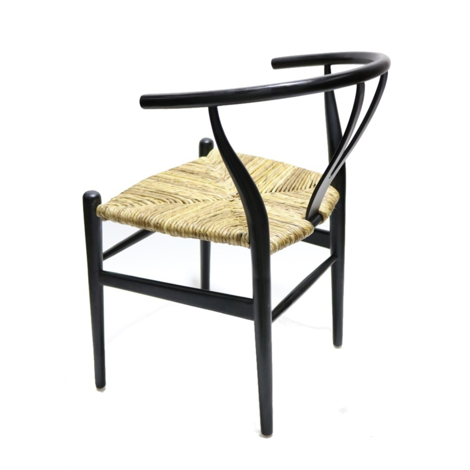 Dining Chair In Black Frame & Natural Hemp Seat - image-2