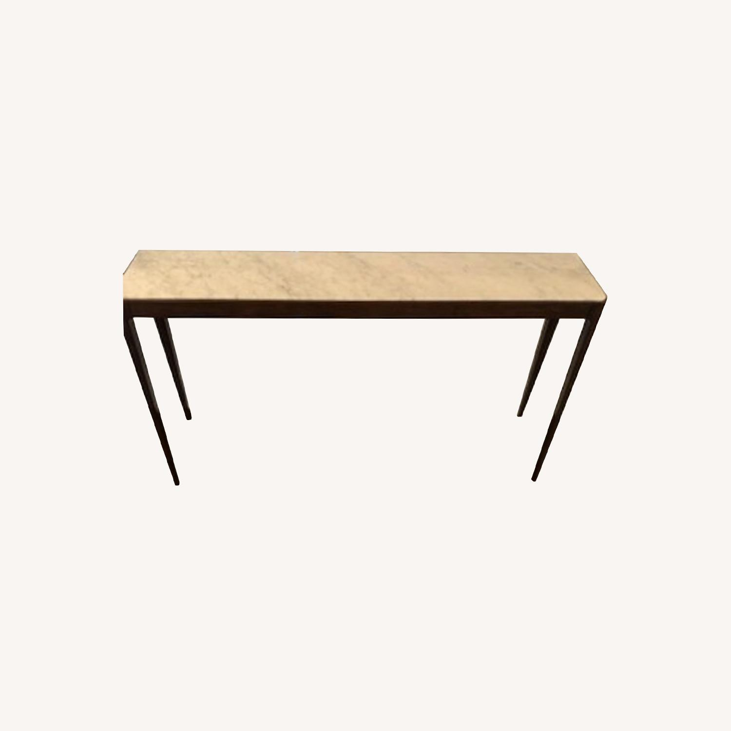 Stunning Carrera Marble and Walnut Console Table - image-0