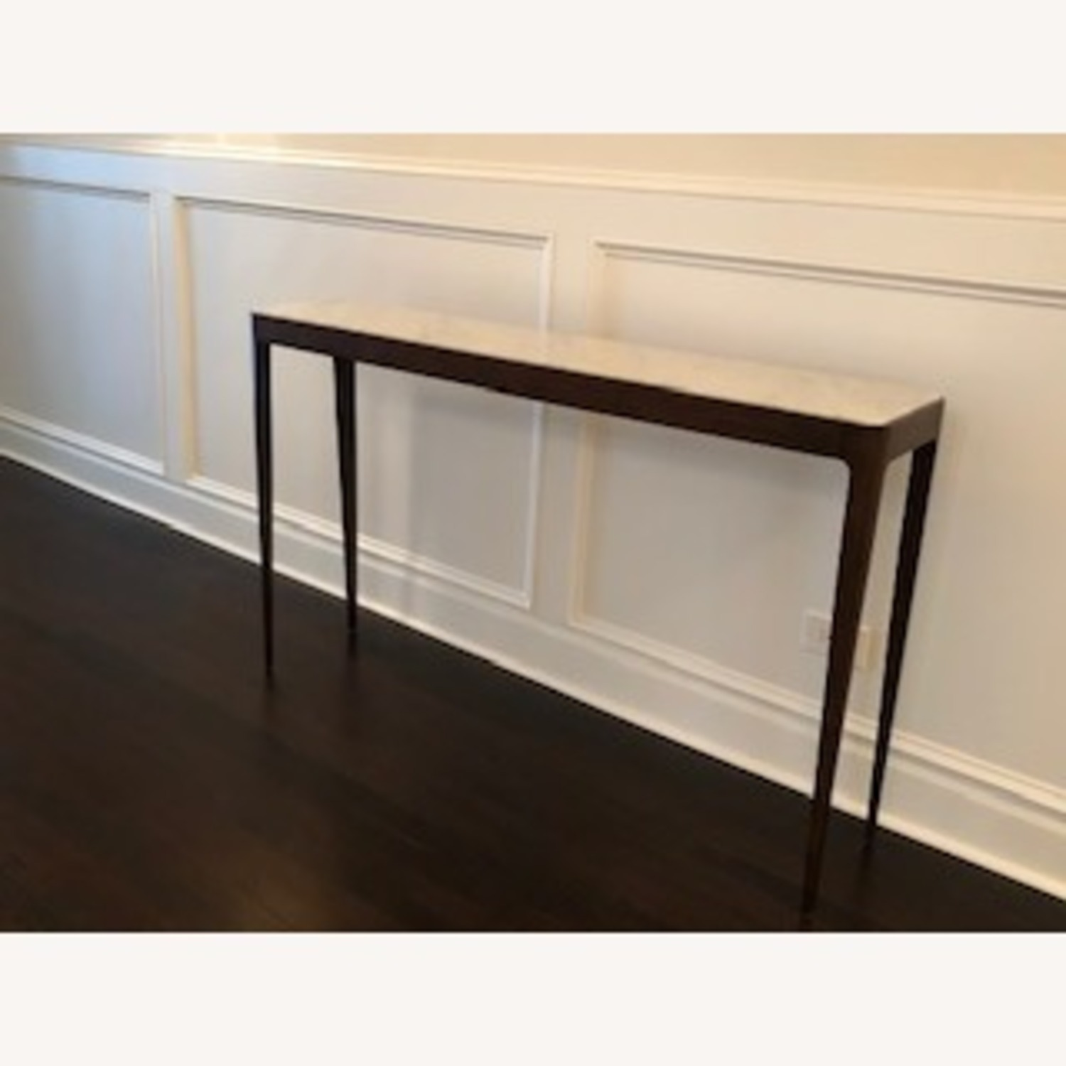 Stunning Carrera Marble and Walnut Console Table - image-1