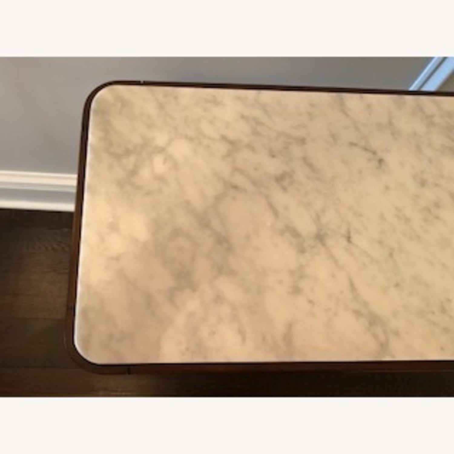 Stunning Carrera Marble and Walnut Console Table - image-2