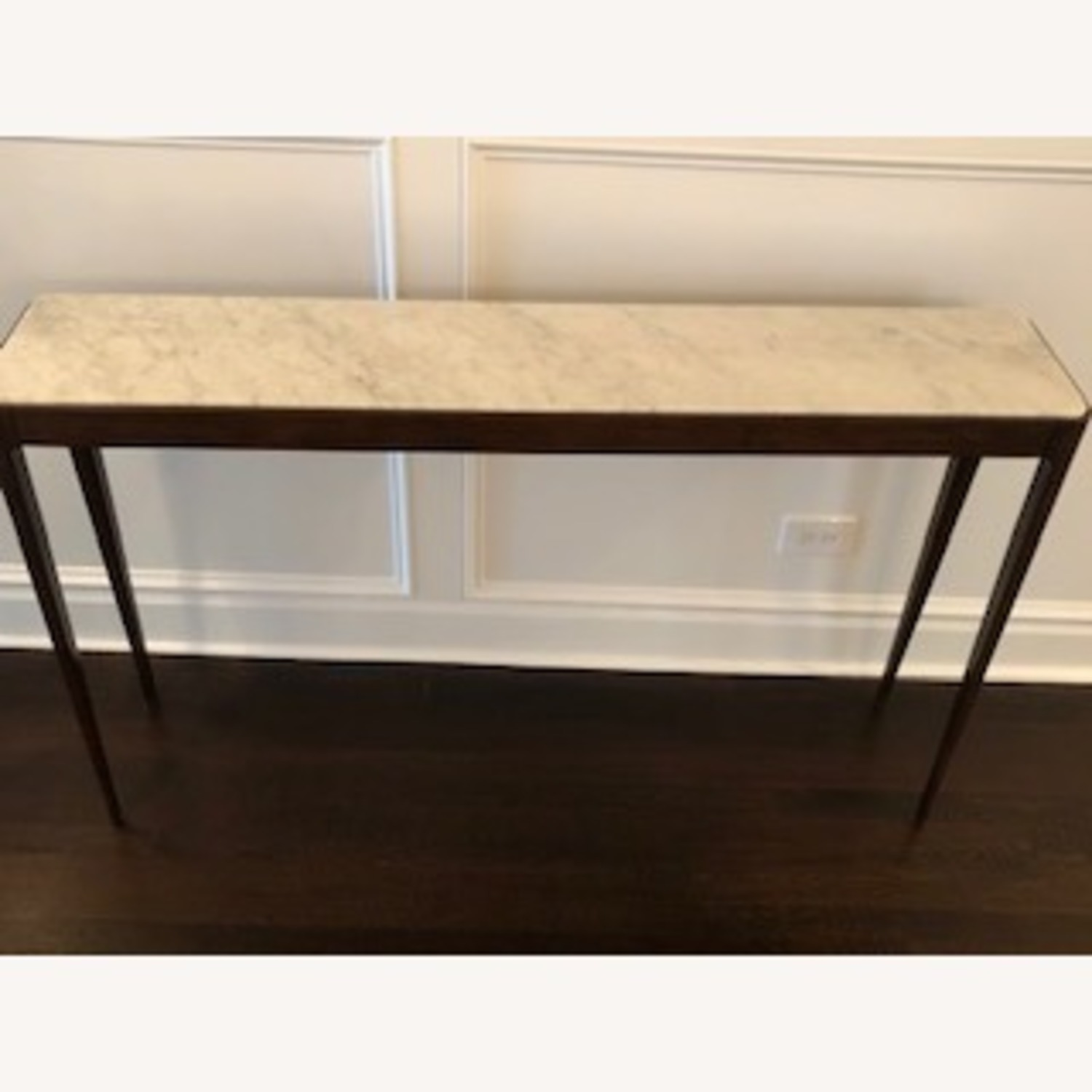 Stunning Carrera Marble and Walnut Console Table - image-3