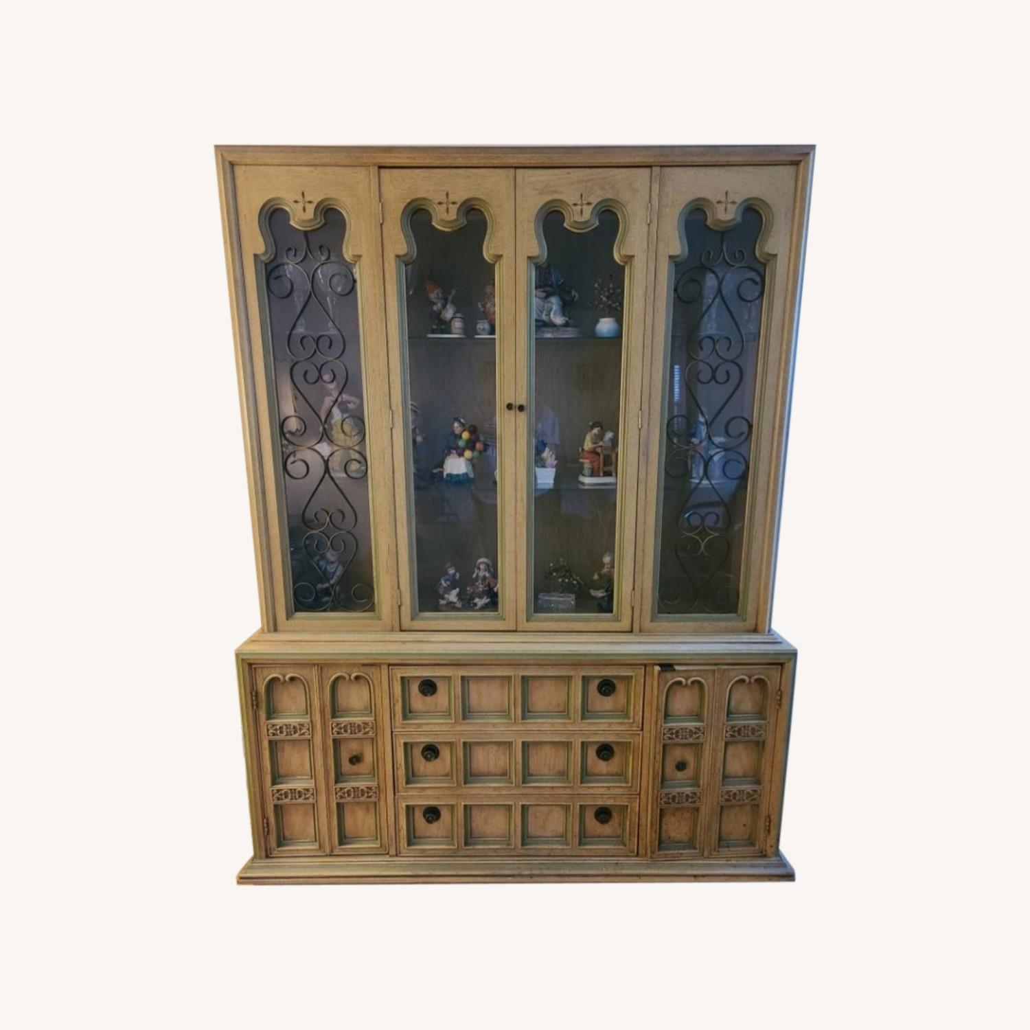 Vintage Wood and Glass Wall Unit - image-0