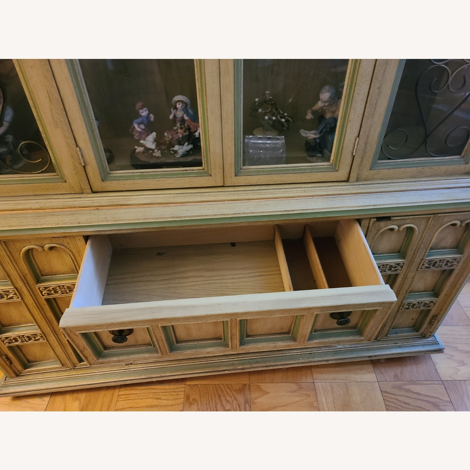 Vintage Wood and Glass Wall Unit - image-6