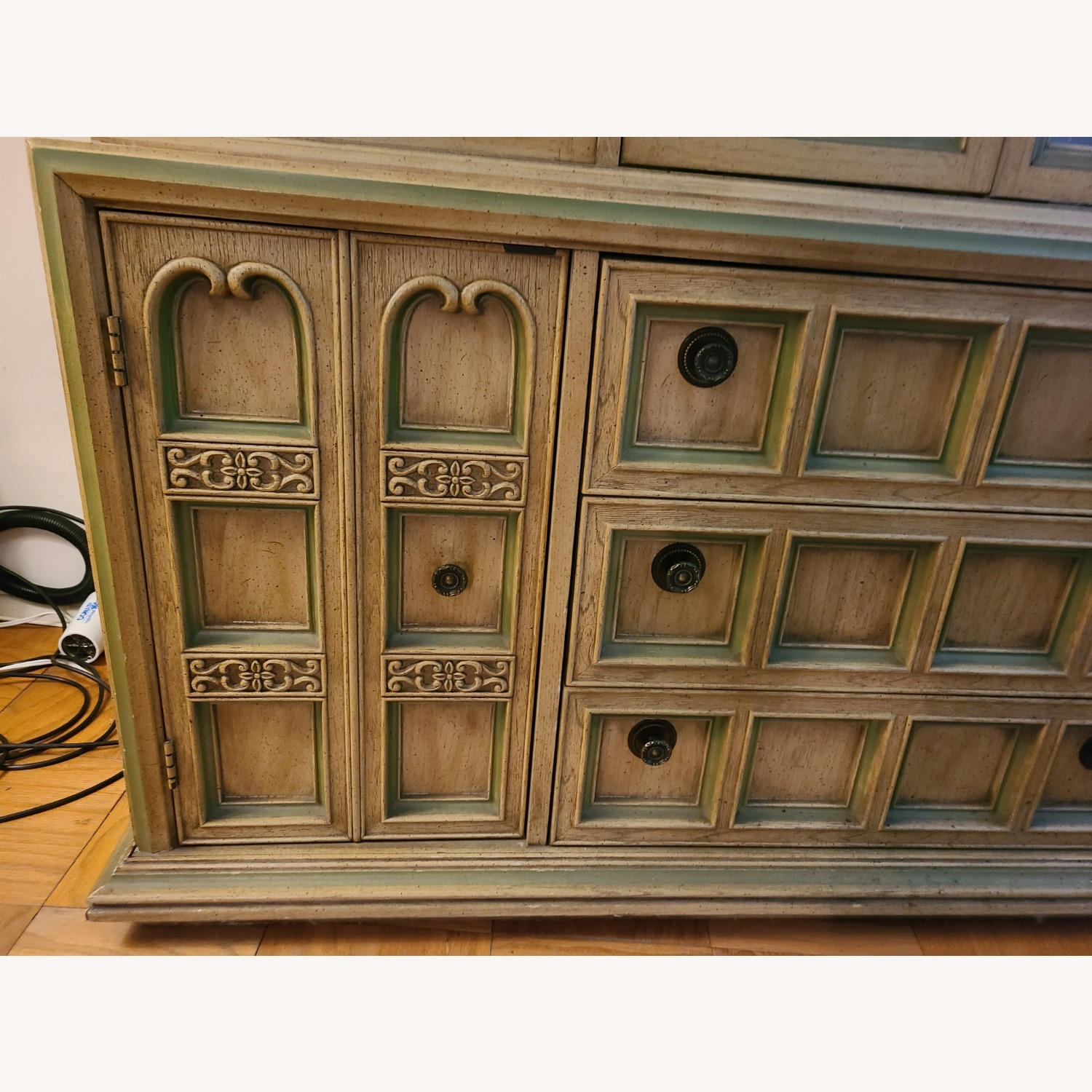 Vintage Wood and Glass Wall Unit - image-5