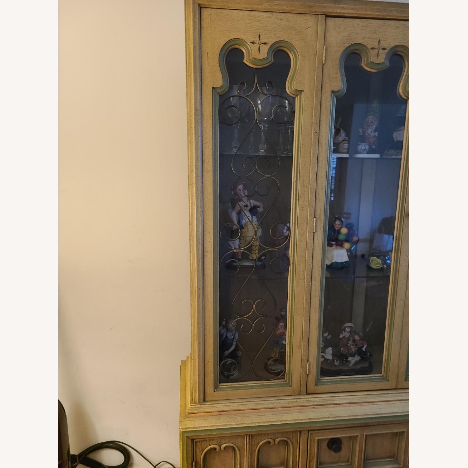 Vintage Wood and Glass Wall Unit - image-7