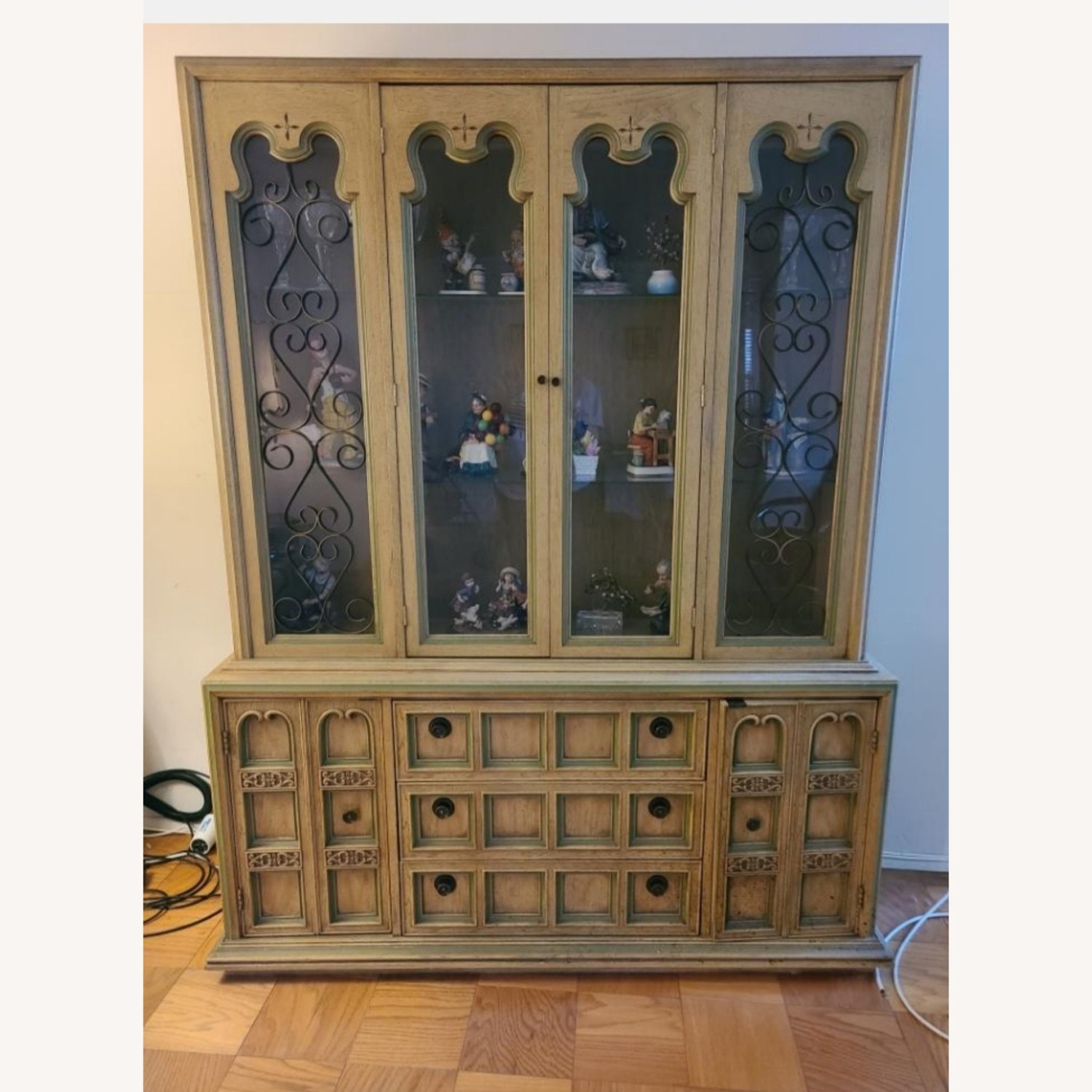 Vintage Wood and Glass Wall Unit - image-1
