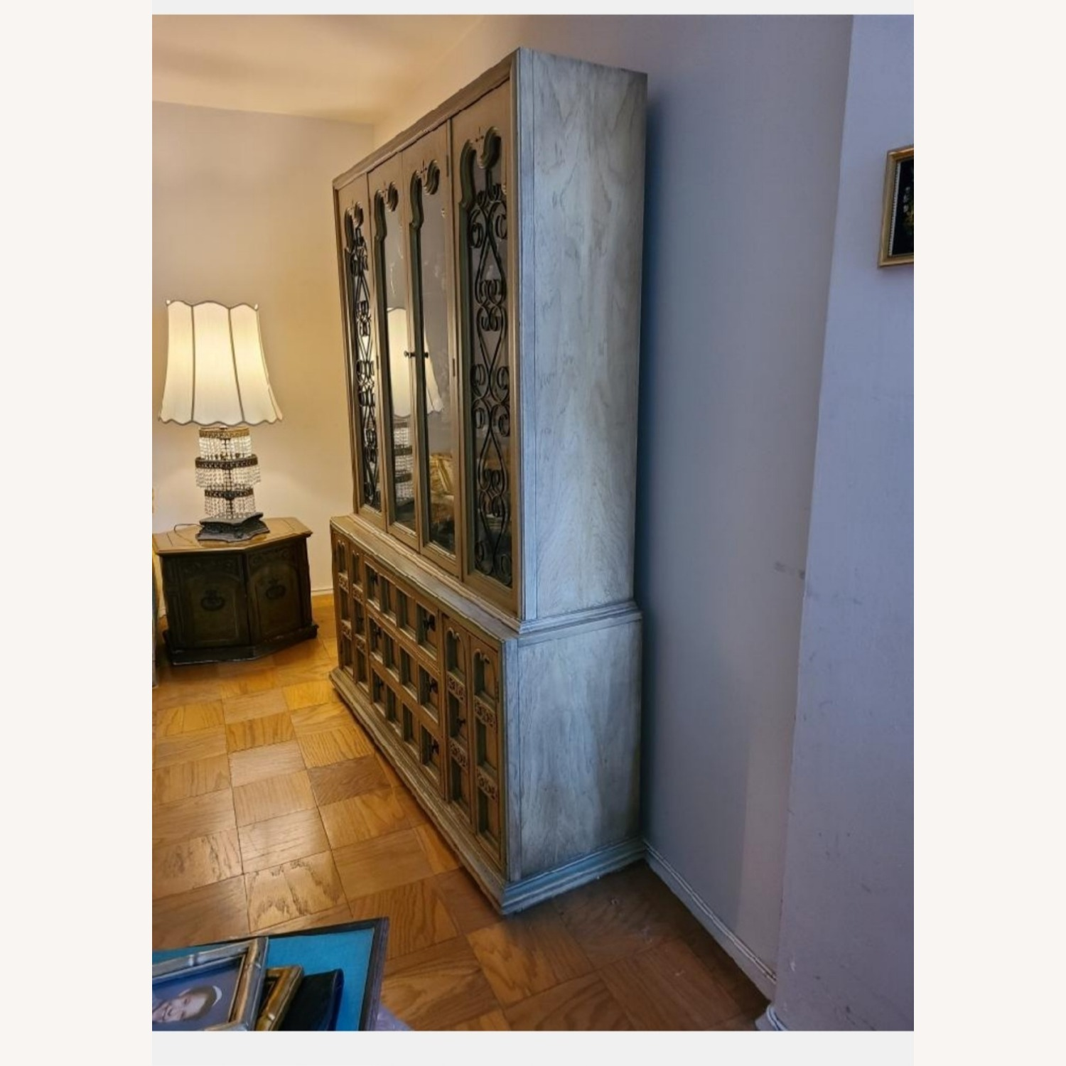 Vintage Wood and Glass Wall Unit - image-3