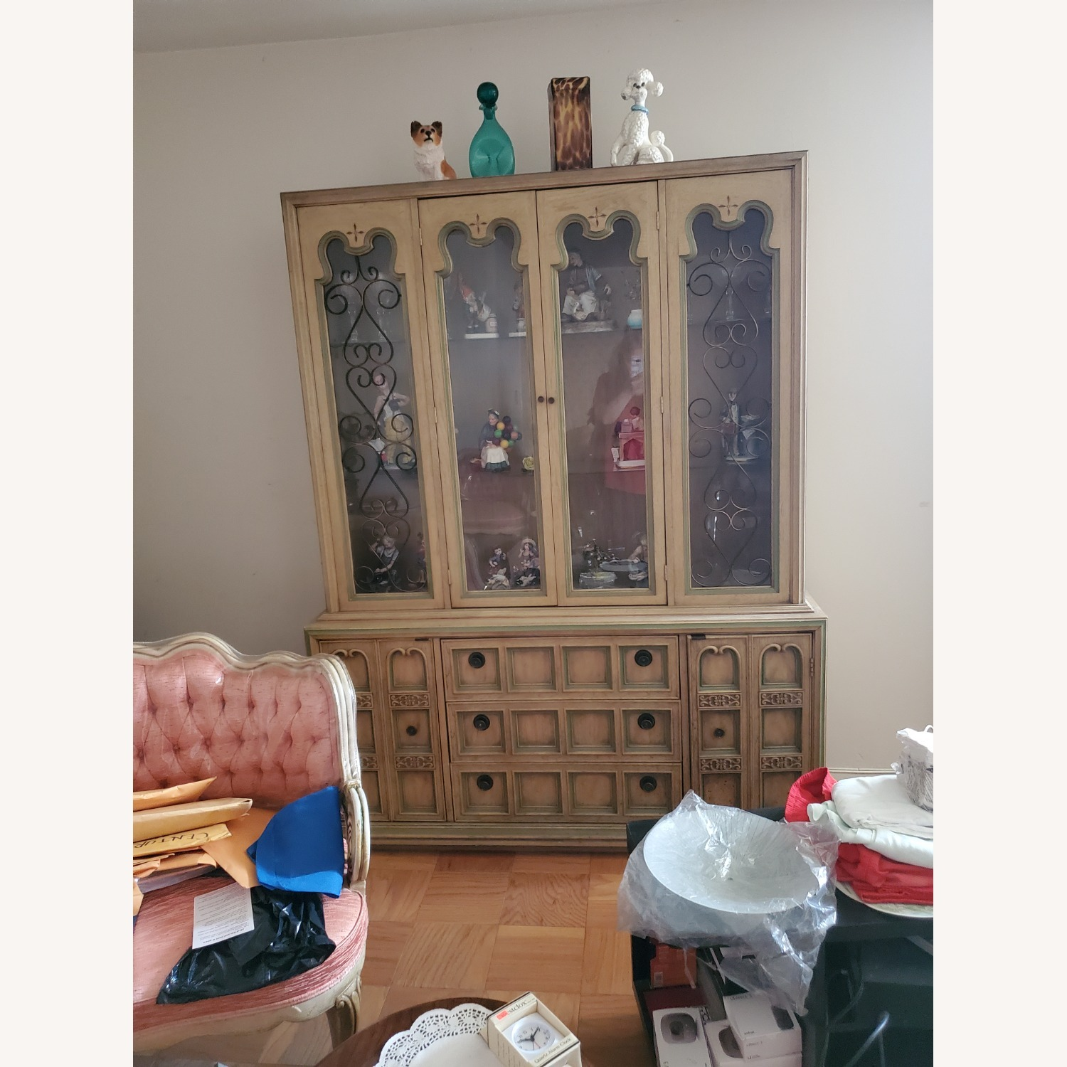 Vintage Wood and Glass Wall Unit - image-2