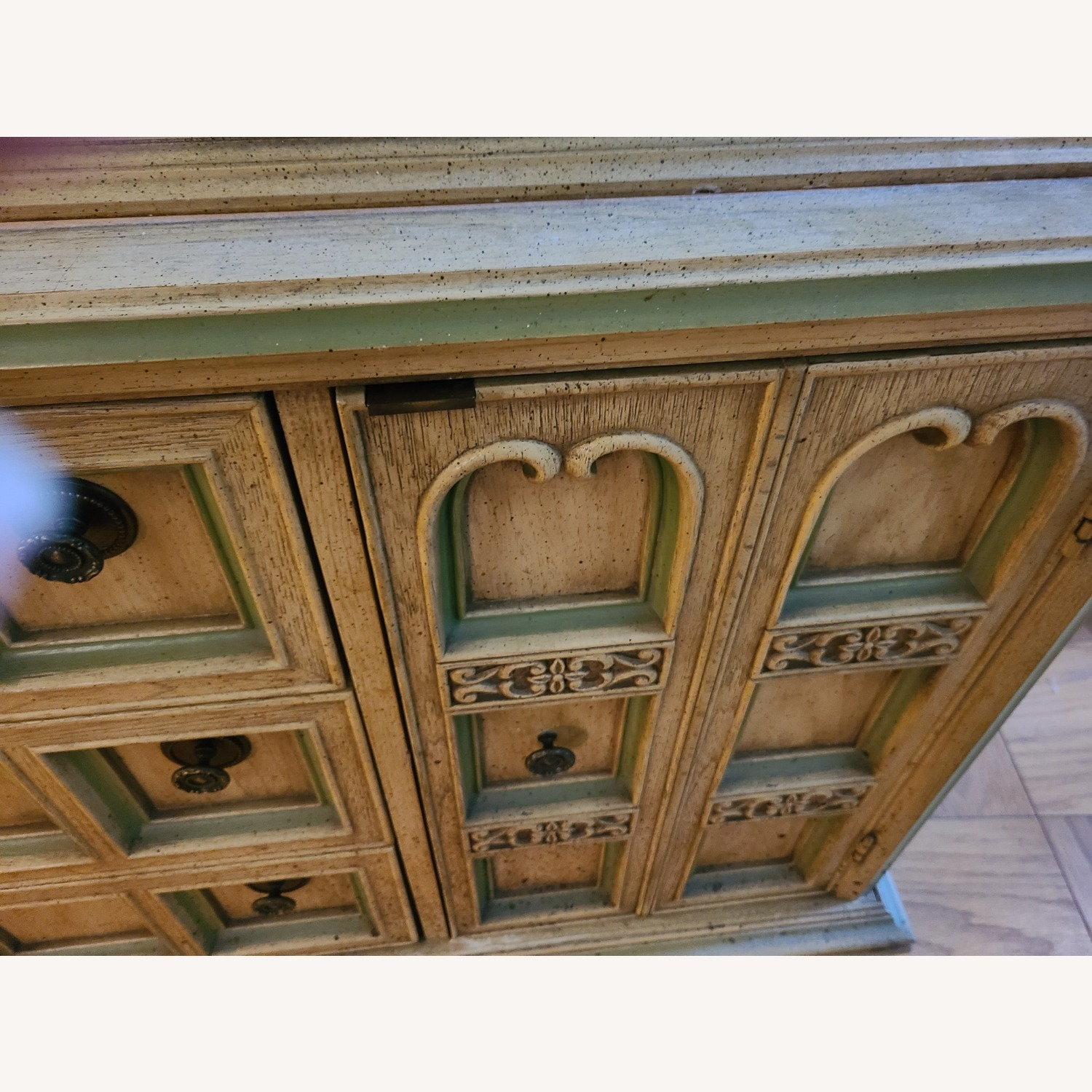 Vintage Wood and Glass Wall Unit - image-10