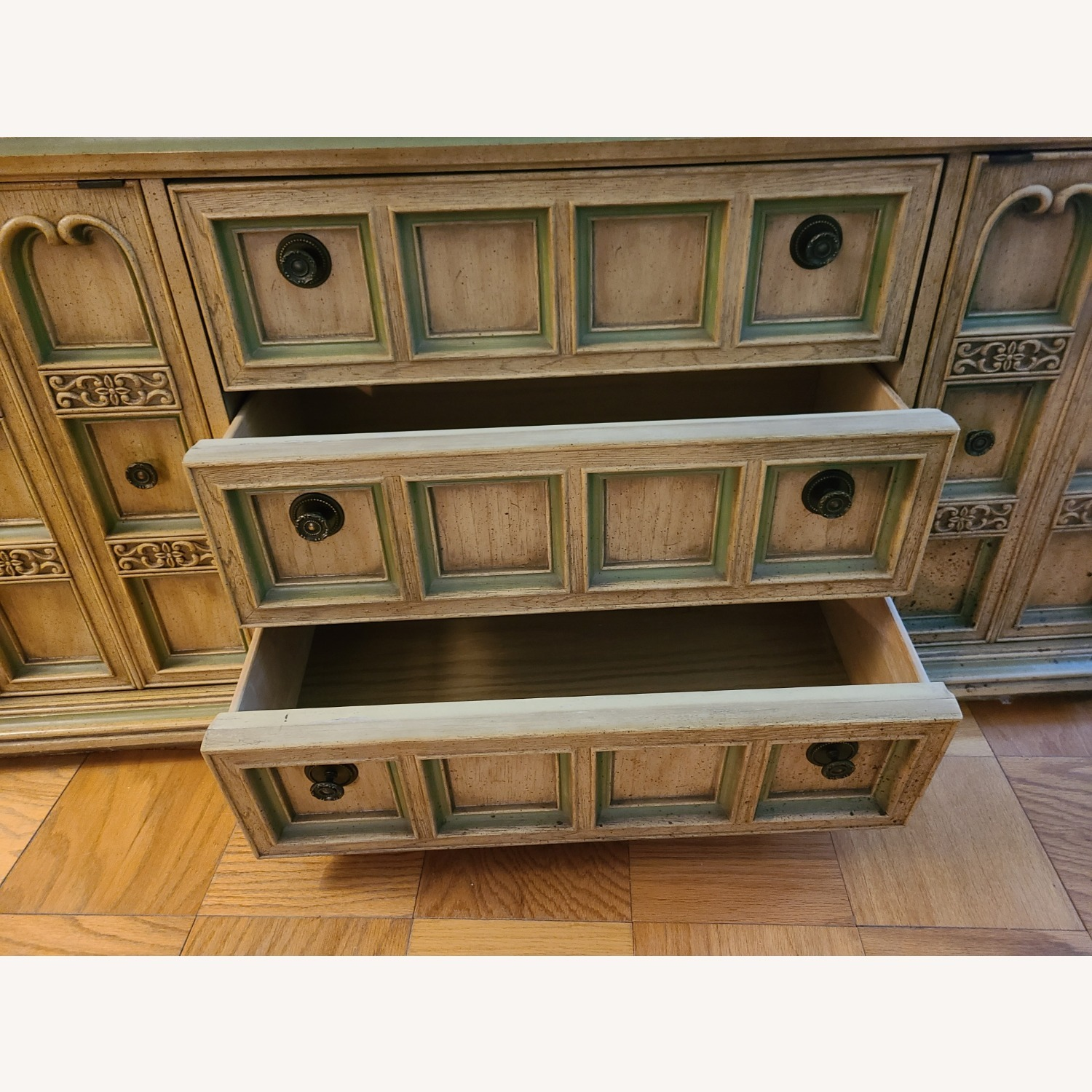 Vintage Wood and Glass Wall Unit - image-11