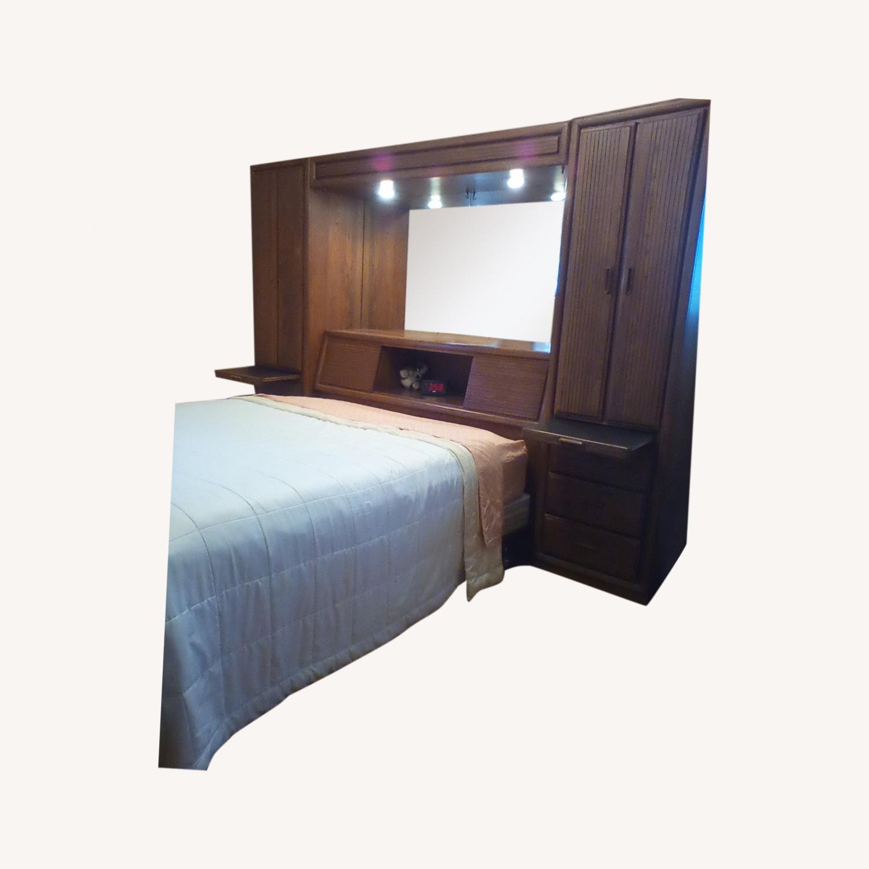 Oak Pier Queen Headboard, Lightbridge & Wardrobe - image-0