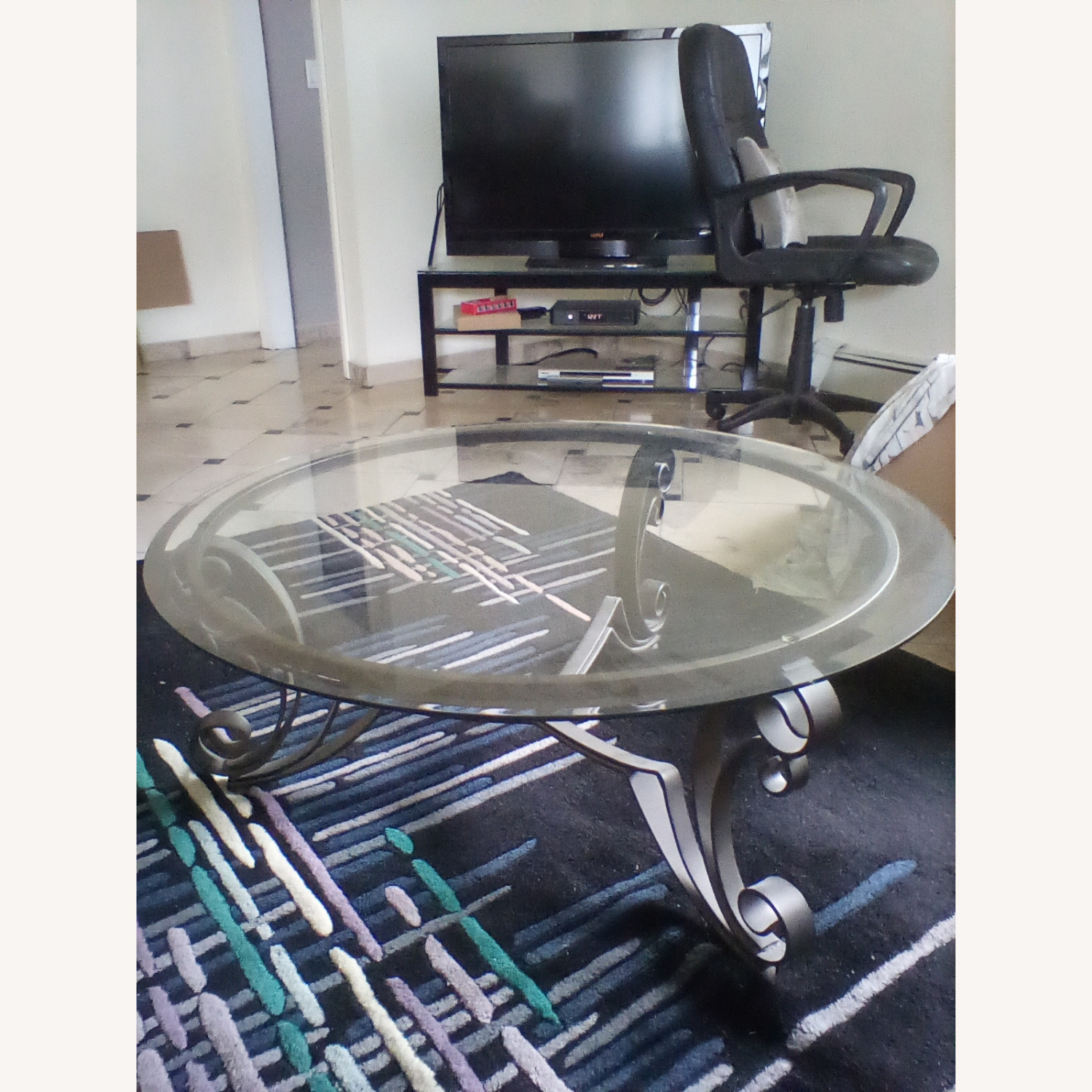 Beveled Glass Coffee Table - image-1