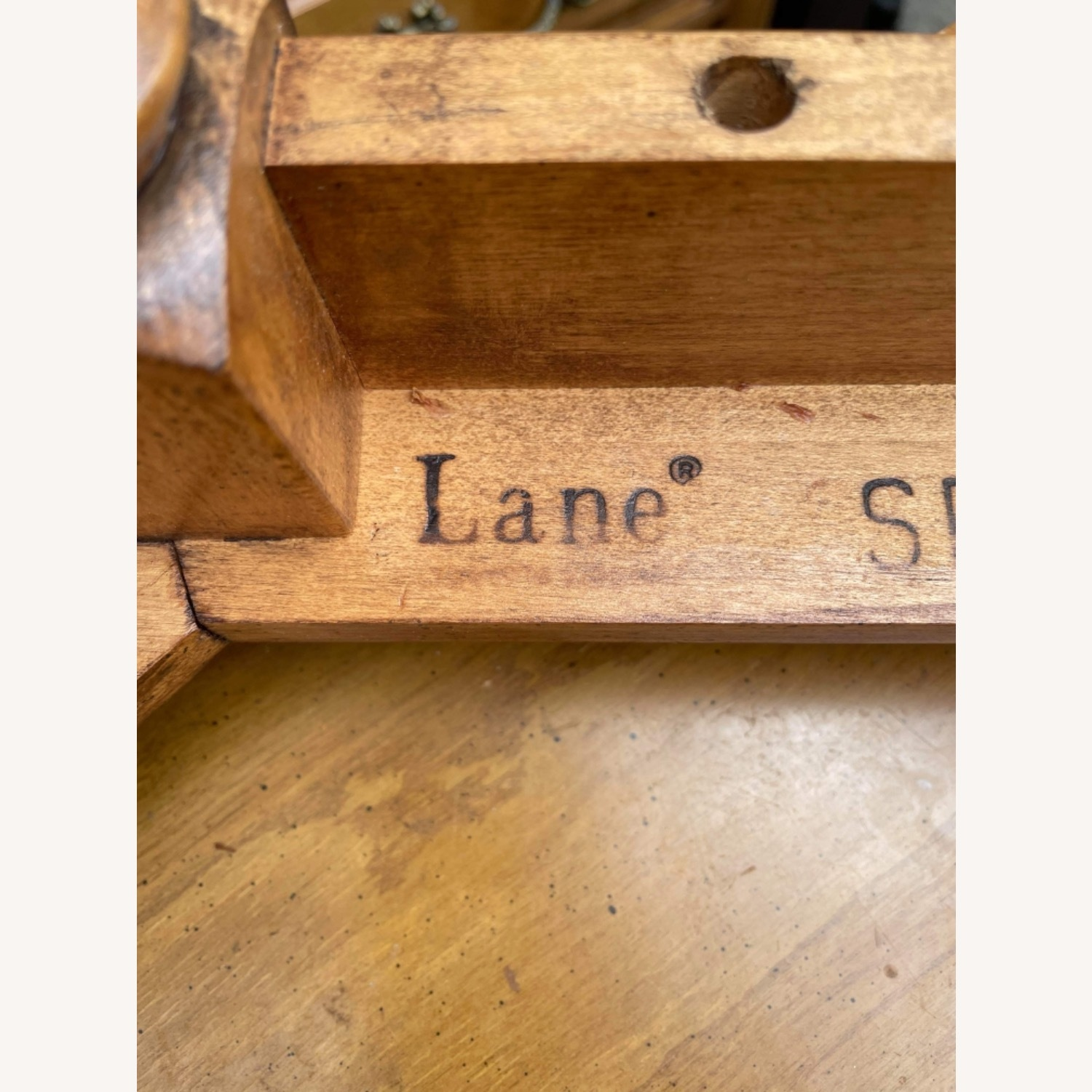 Lane 1970s Console Table w/ Beveled Glass Top - image-17