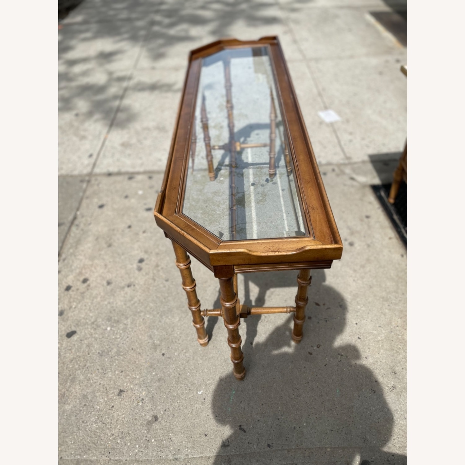 Lane 1970s Console Table w/ Beveled Glass Top - image-6