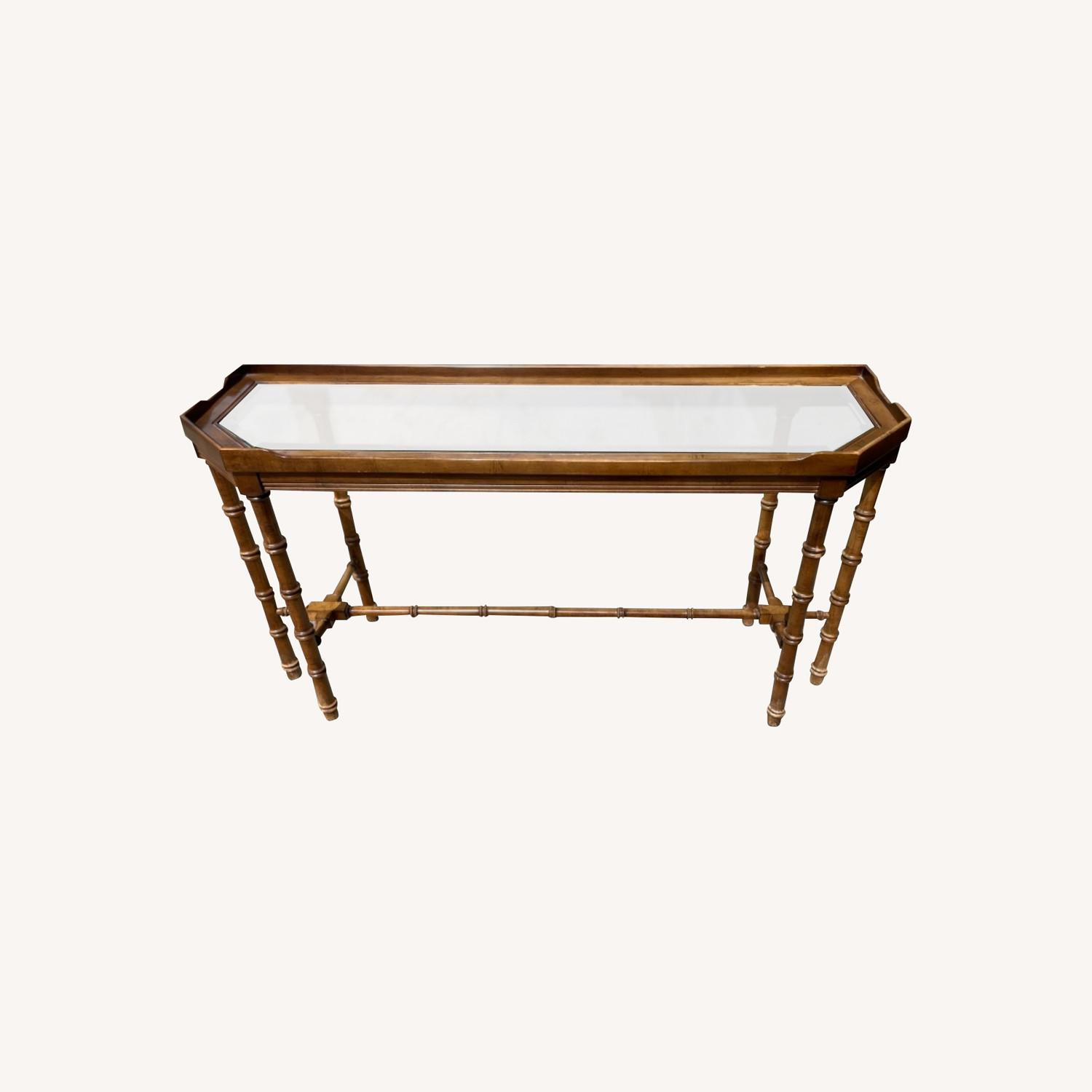 Lane 1970s Console Table w/ Beveled Glass Top - image-0
