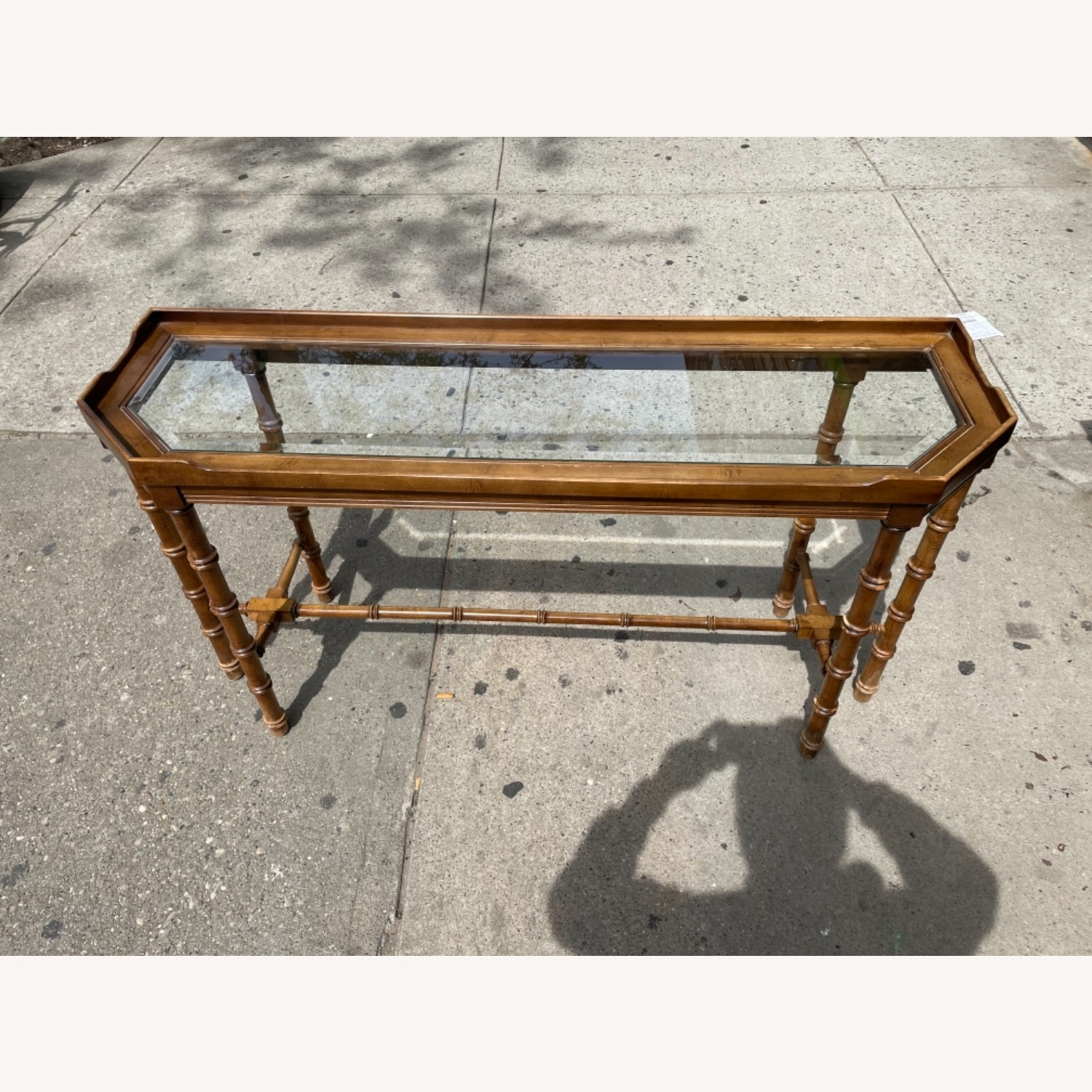 Lane 1970s Console Table w/ Beveled Glass Top - image-4