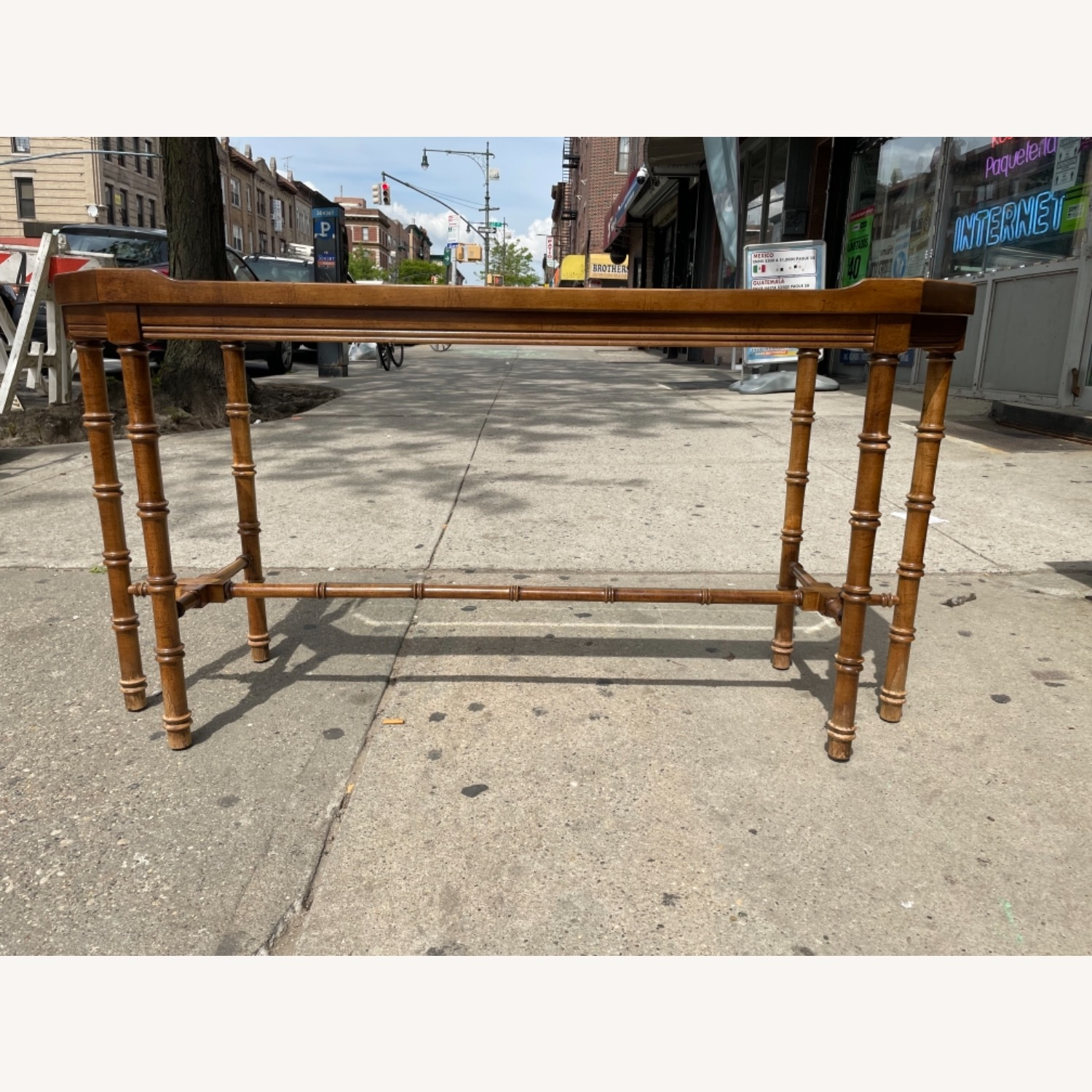 Lane 1970s Console Table w/ Beveled Glass Top - image-3