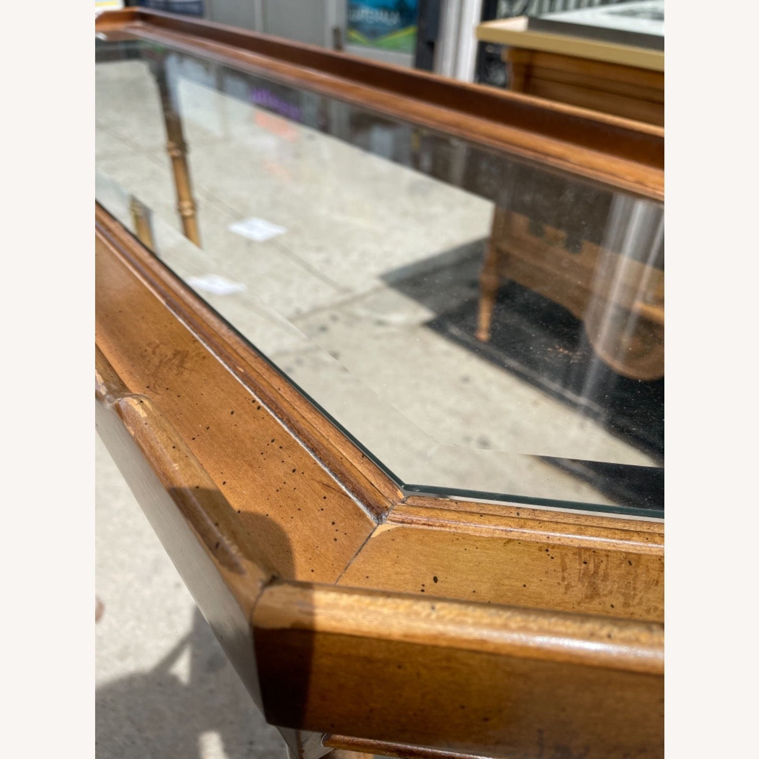 Lane 1970s Console Table w/ Beveled Glass Top - image-7