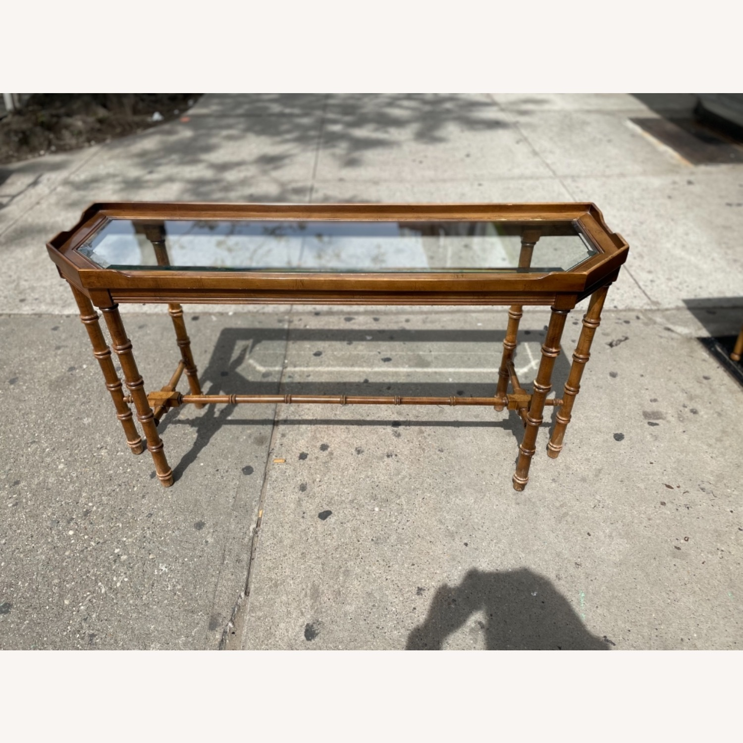 Lane 1970s Console Table w/ Beveled Glass Top - image-5