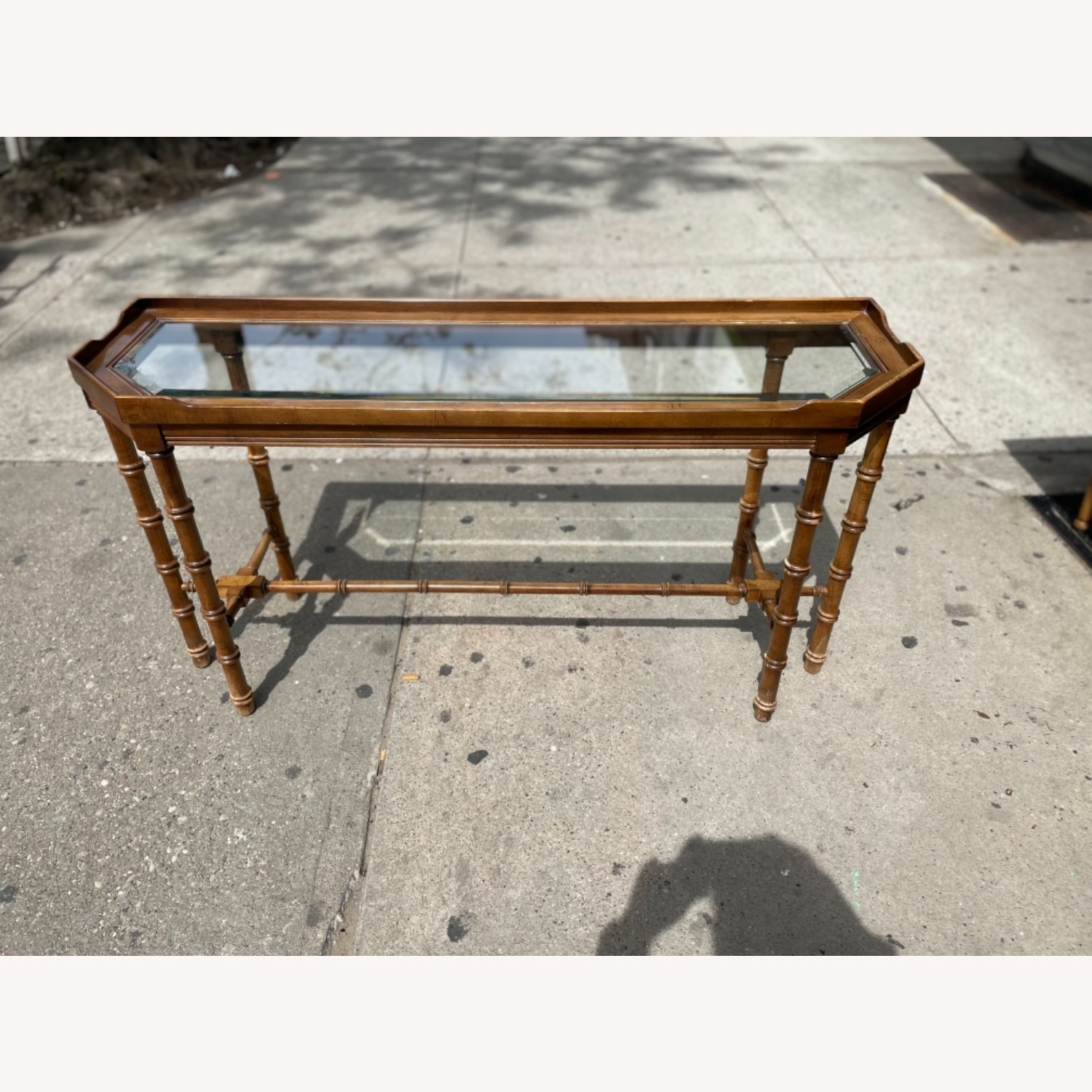 Lane 1970s Console Table w/ Beveled Glass Top - image-1