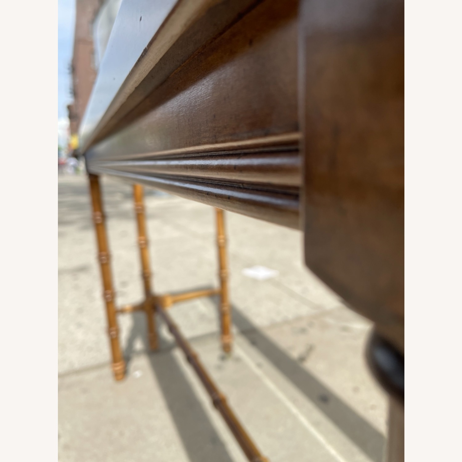 Lane 1970s Console Table w/ Beveled Glass Top - image-12