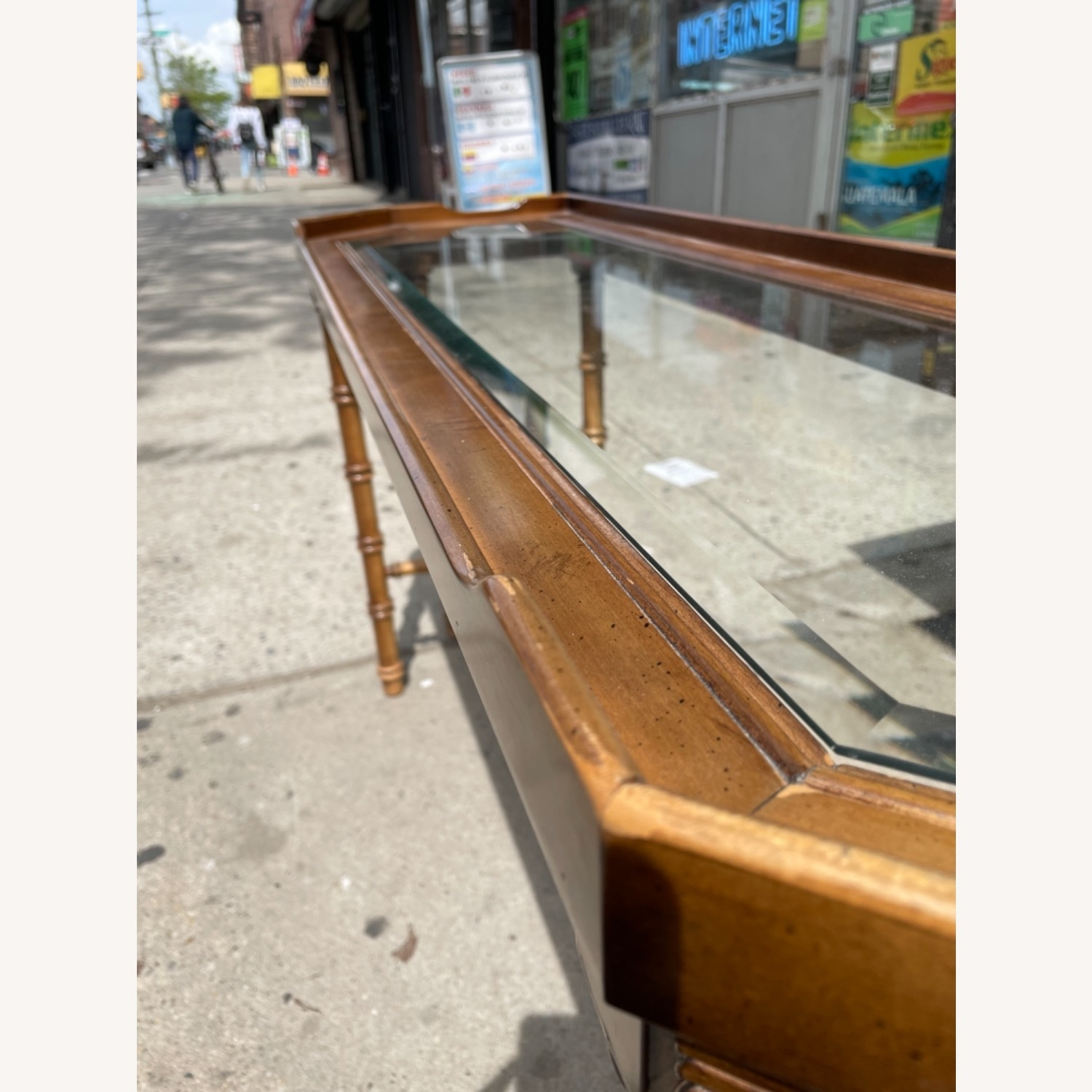 Lane 1970s Console Table w/ Beveled Glass Top - image-8