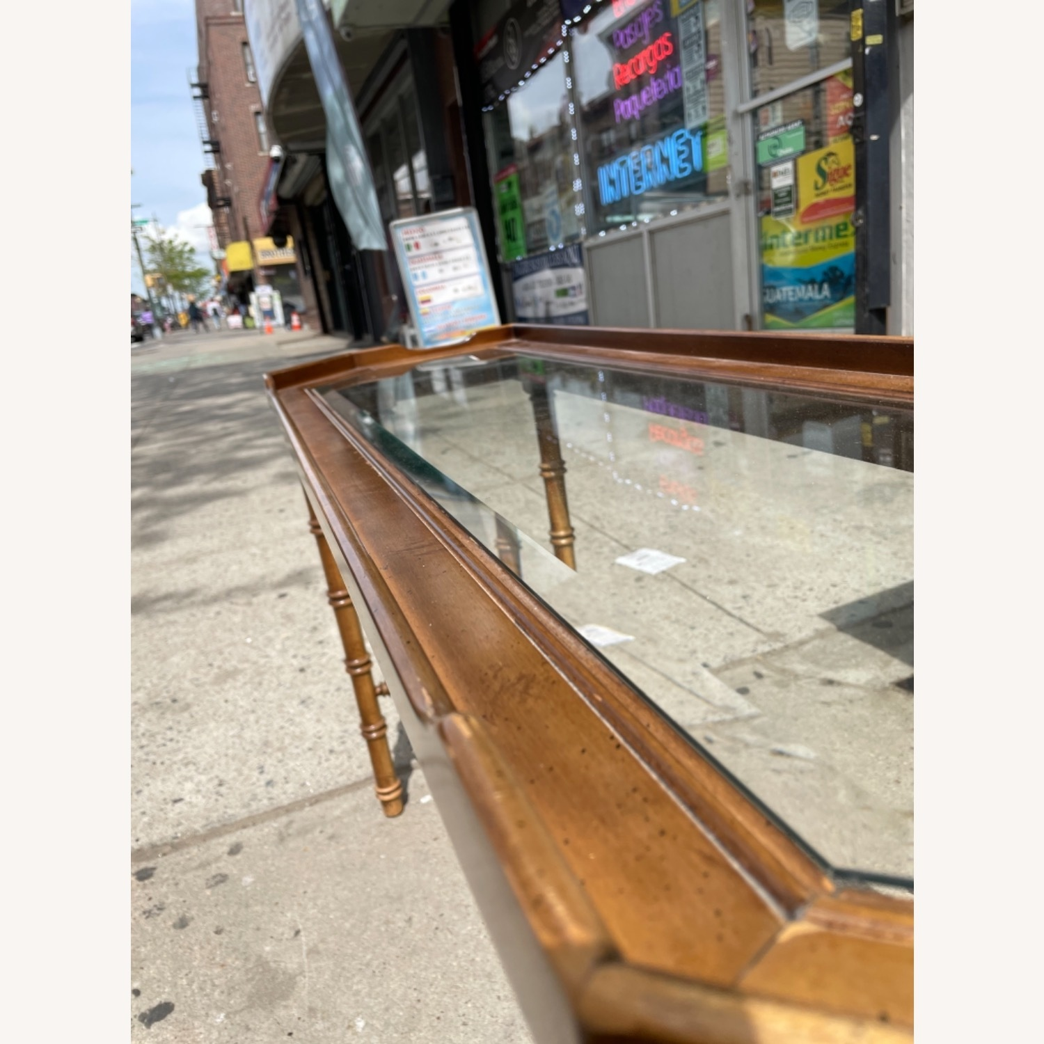 Lane 1970s Console Table w/ Beveled Glass Top - image-15