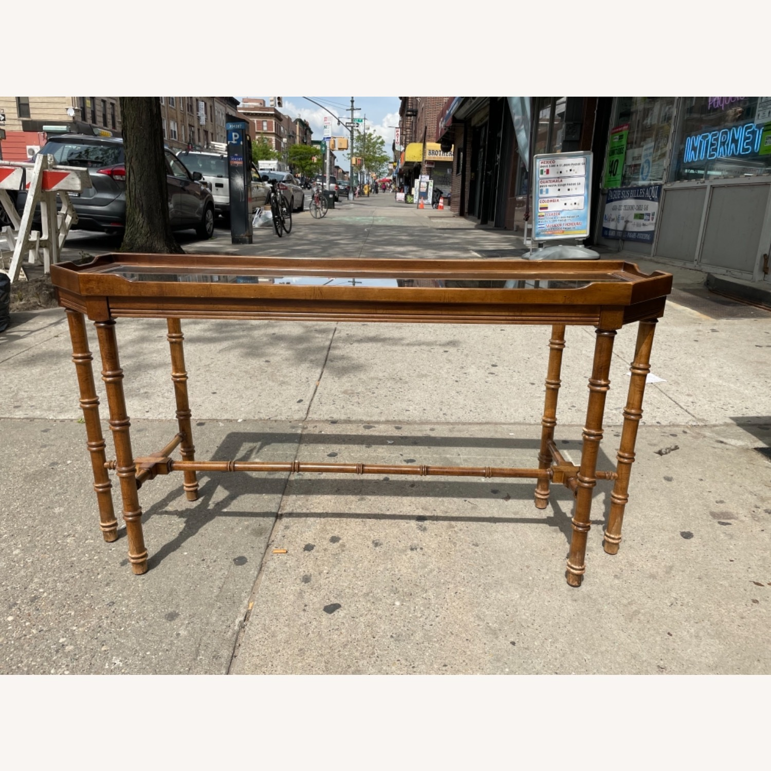 Lane 1970s Console Table w/ Beveled Glass Top - image-2
