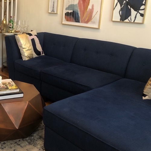 Used Dark Blue Sectional Sofa for sale on AptDeco