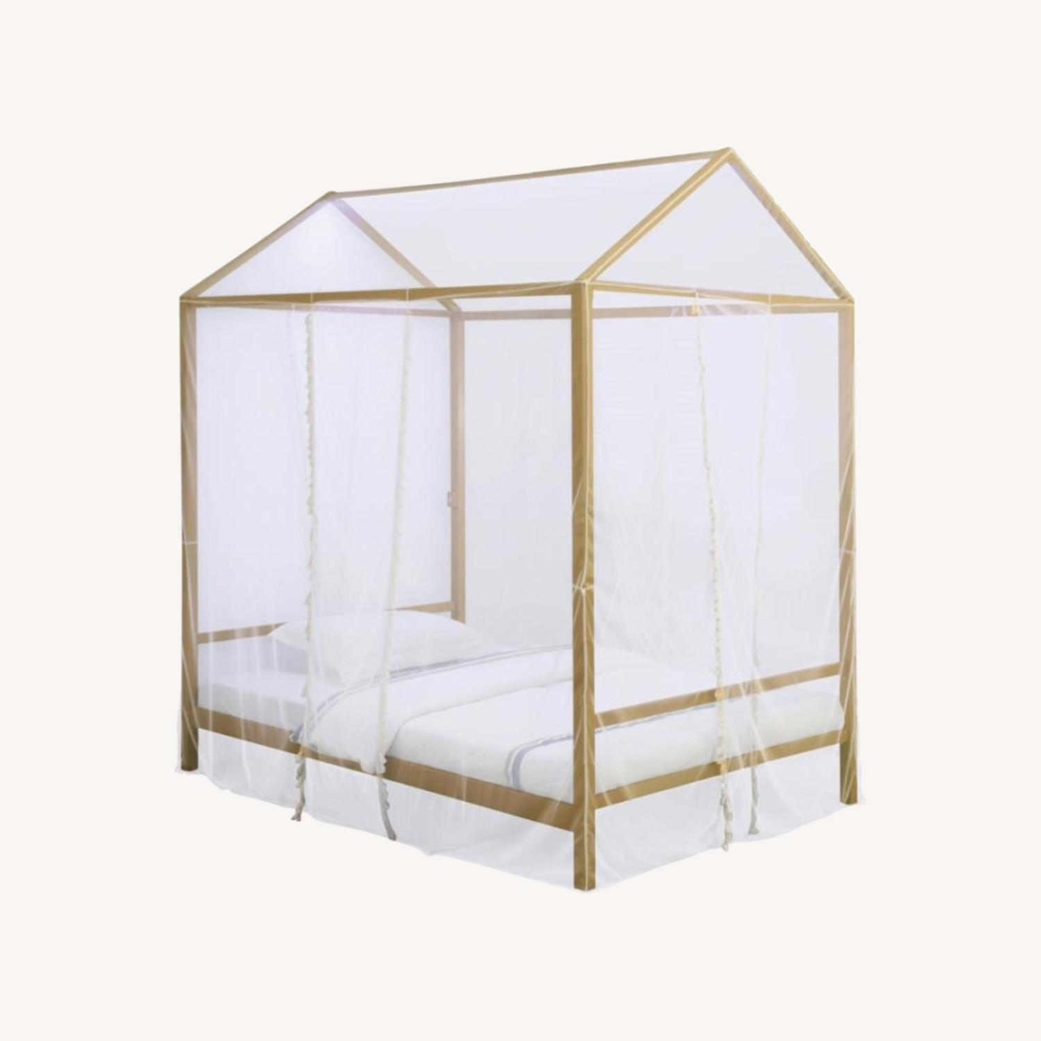LED Full Tent Bed In Matte Gold W/ White Fabric - image-4