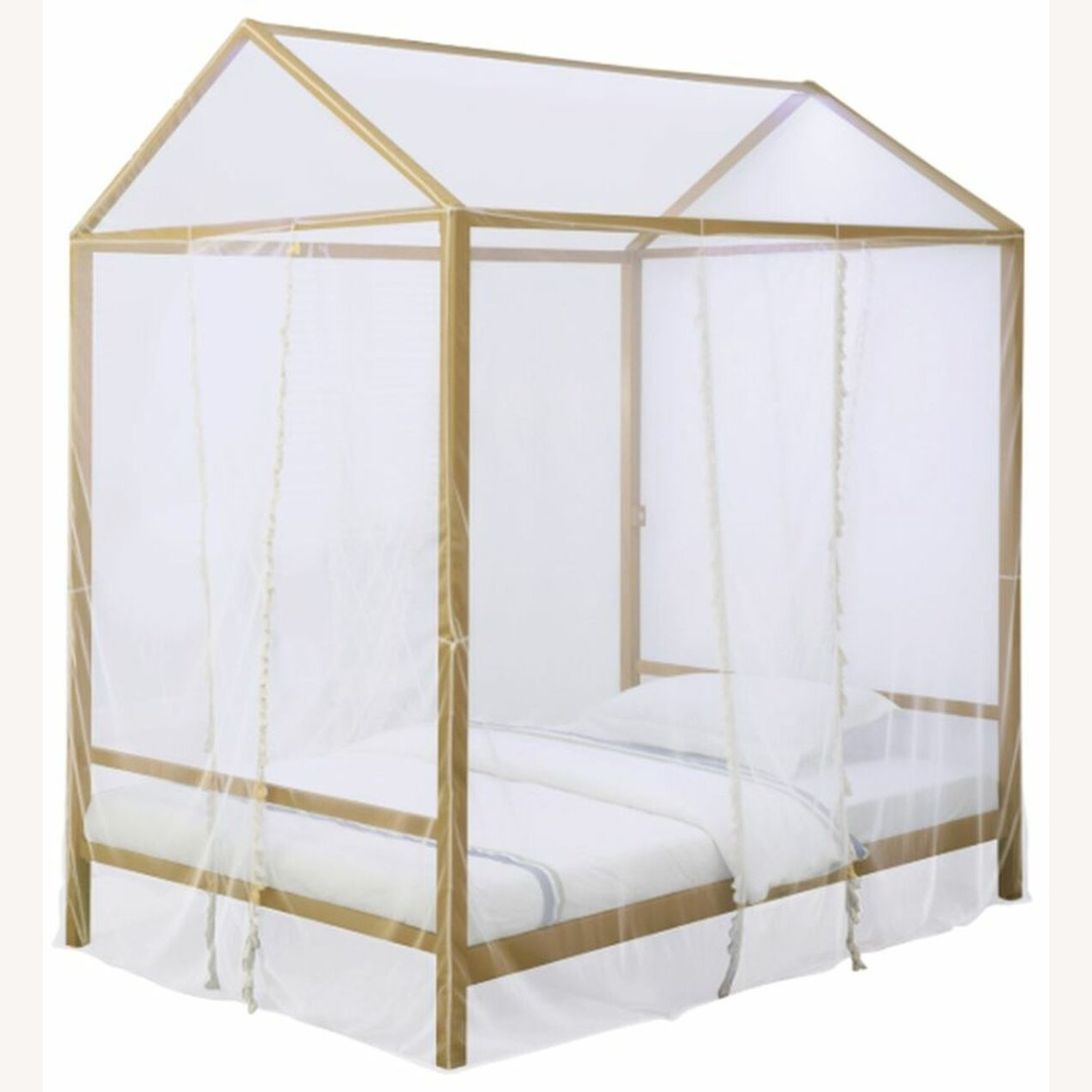LED Full Tent Bed In Matte Gold W/ White Fabric - image-1